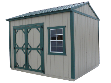 Garden shed with LP SmartSide siding and green metal roof